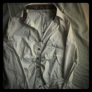 New York & Company White Jewel Button Down Shirt